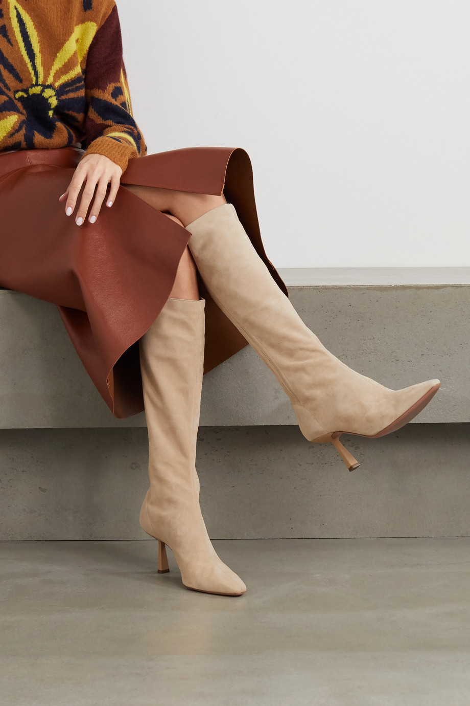 Aquazzura Curzon 75 绒面革及膝长靴
