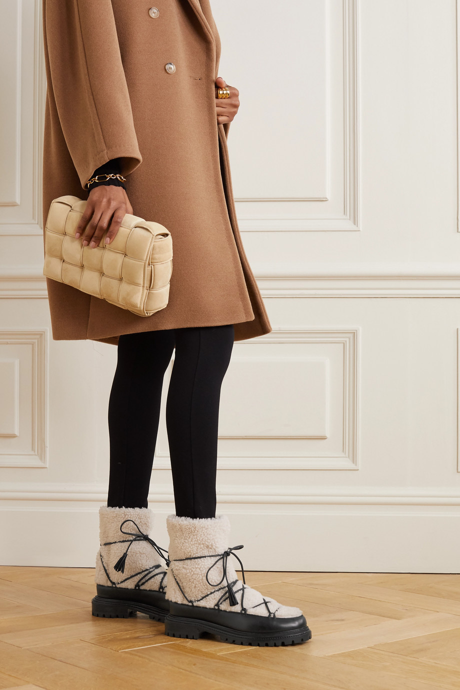 Aquazzura Very Gstaad shearling and leather ankle boots