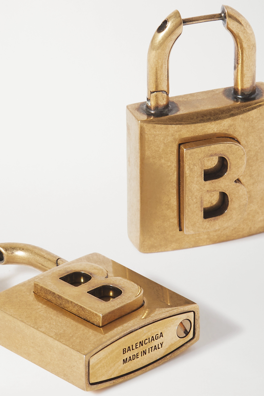 Balenciaga Lock goldfarbene Ohrringe mit Prägung