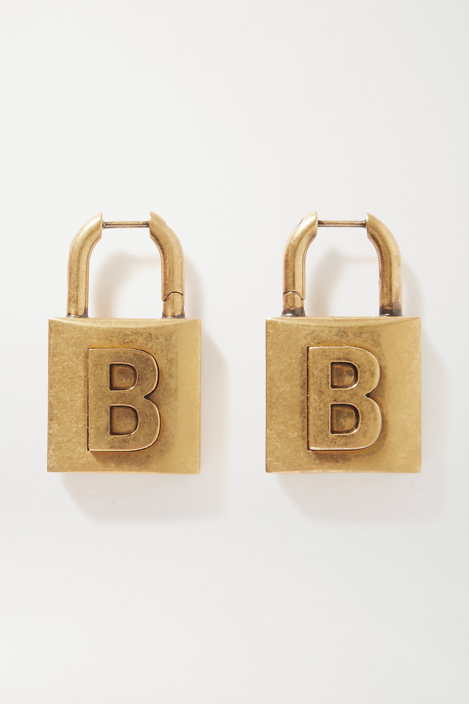 Balenciaga Lock embossed gold-tone earrings