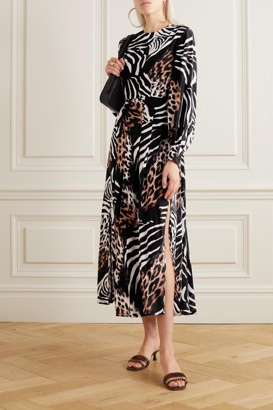 RIXO Emma pleated printed silk midi dress