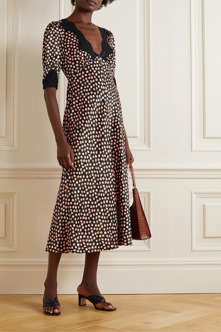 RIXO Simone lace-trimmed floral-print satin midi dress