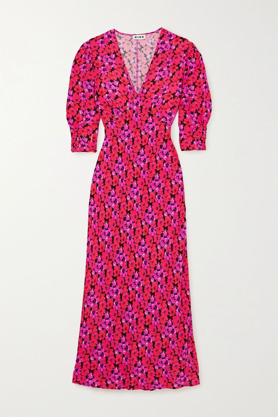 RIXO Zadie floral-print crepe de chine midi dress