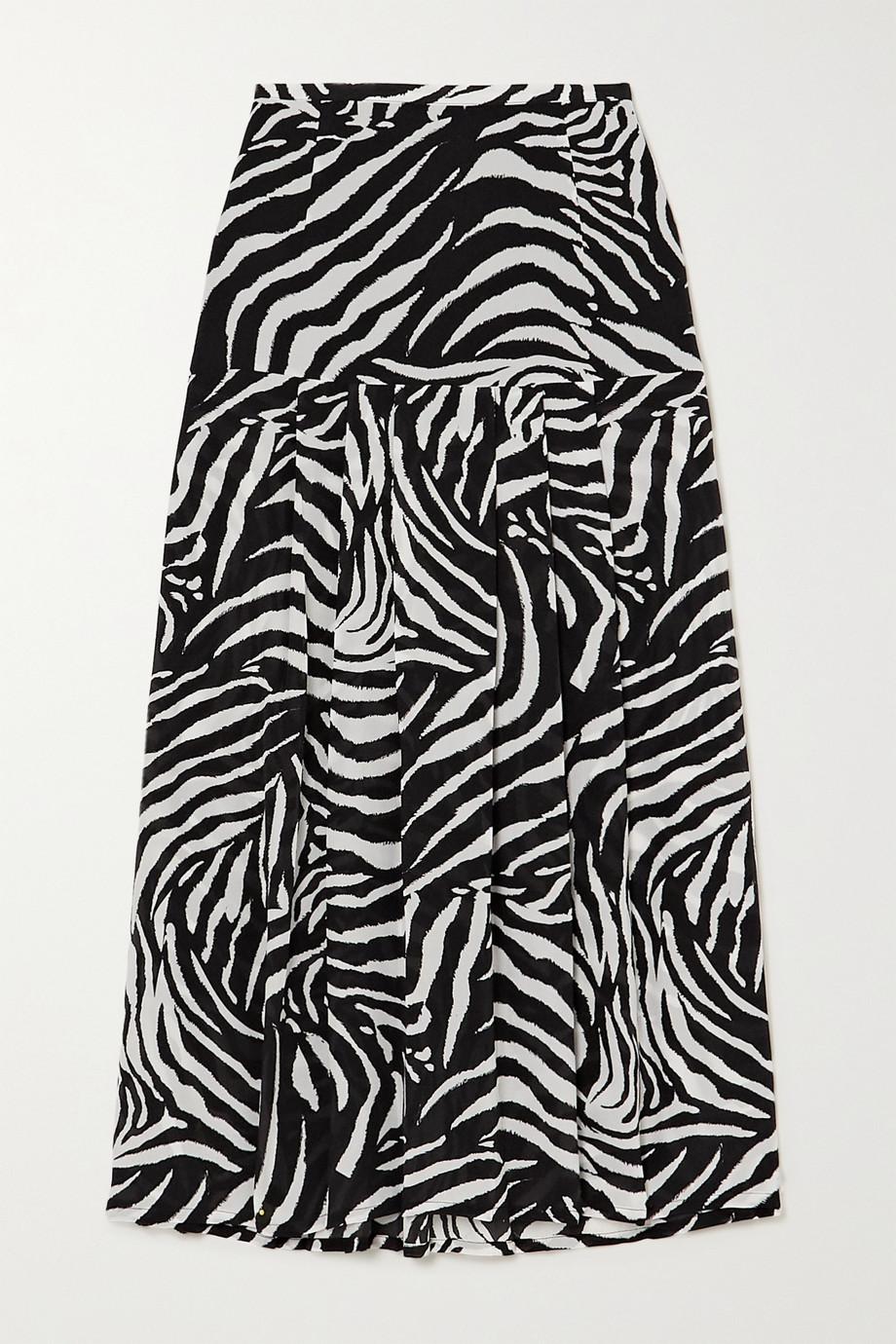 RIXO Nancy pleated zebra-print silk crepe de chine midi skirt