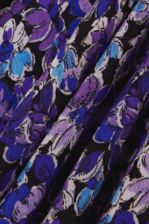 Violet Robe Midi En Coton Et Soie Mélangés À Imprimé Fleuri Liens Gwen | Rixo