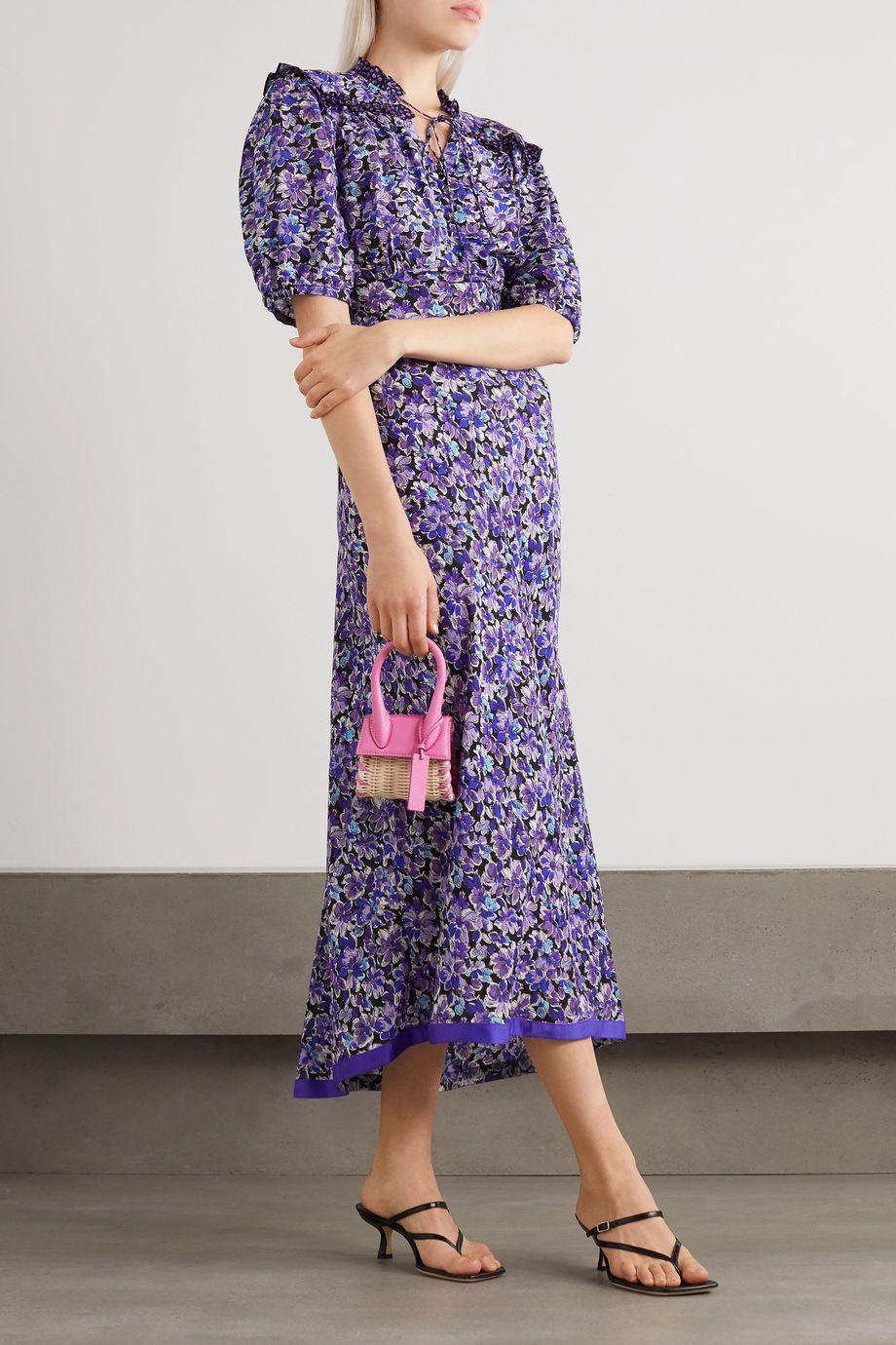 RIXO Gwen Midikleid aus einer Baumwoll-Seidenmischung mit Blumenprint und Schluppe