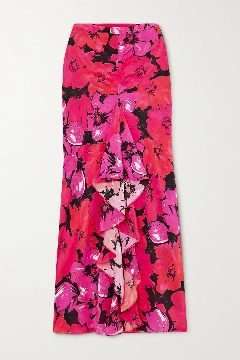 RIXO Vi Midirock aus Crêpe de Chine aus Seide mit Blumenprint und Rüsche