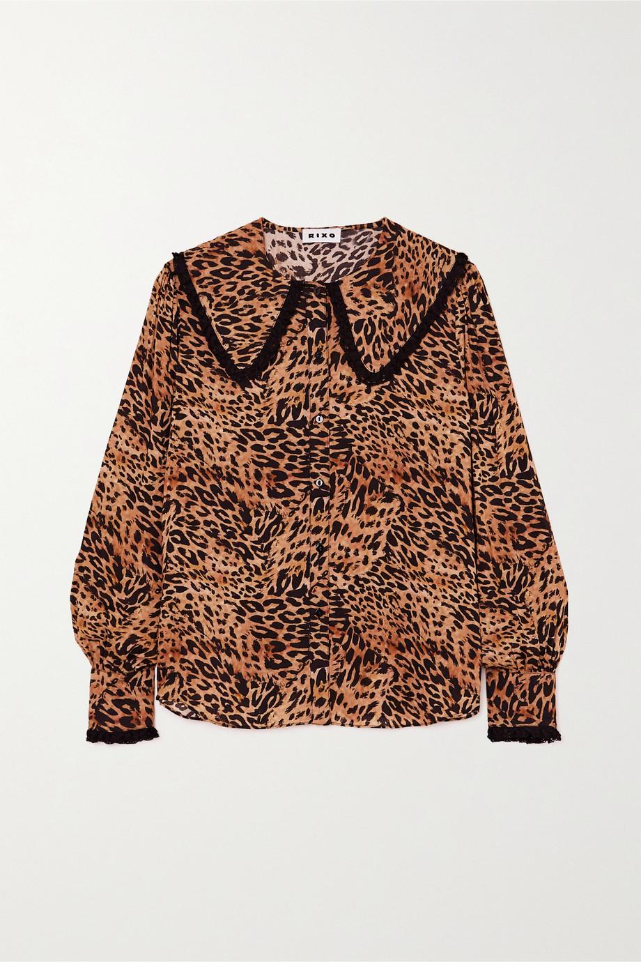 RIXO Misha Bluse aus Webstoff mit Leopardenprint und Häkelbesätzen