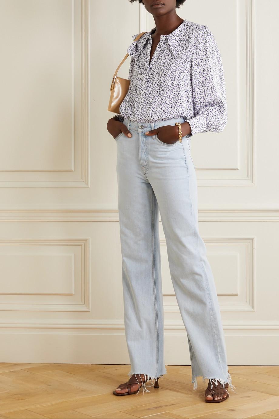 RIXO Misha ruffled floral-print woven blouse