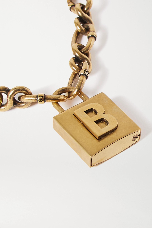 Balenciaga Lock goldfarbene Kette mit Prägungen