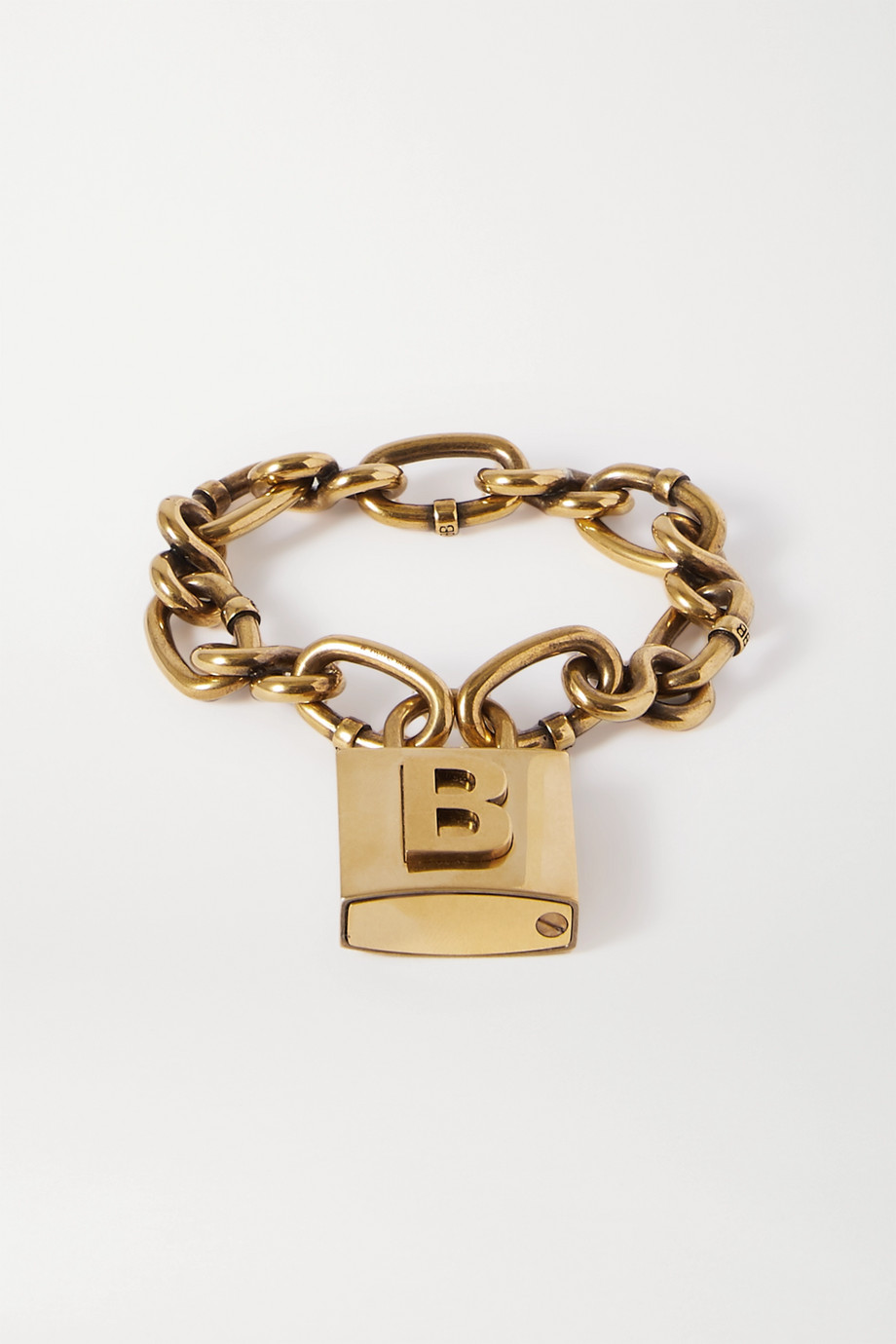 Balenciaga Lock goldfarbenes Armband mit Prägungen