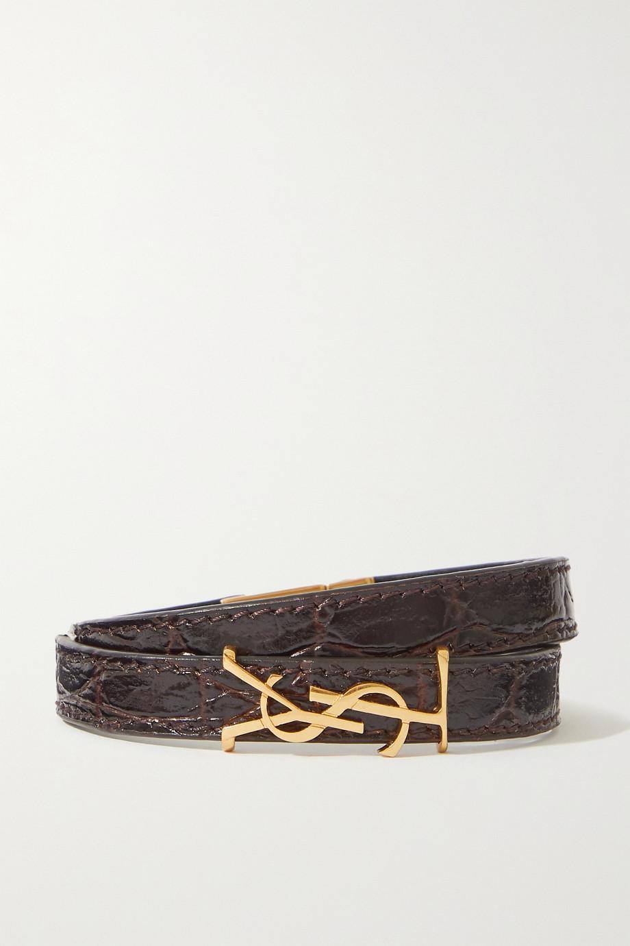 SAINT LAURENT Armband aus Leder mit Krokodileffekt und goldfarbenen Details