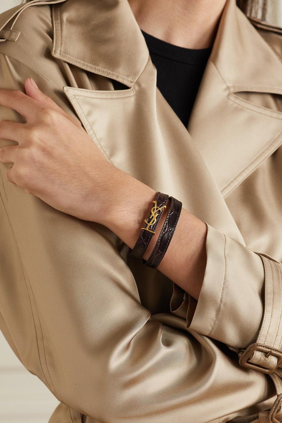 SAINT LAURENT Bracelet en cuir effet croco et métal doré