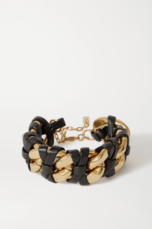 SAINT LAURENT Leather and gold-tone bracelet