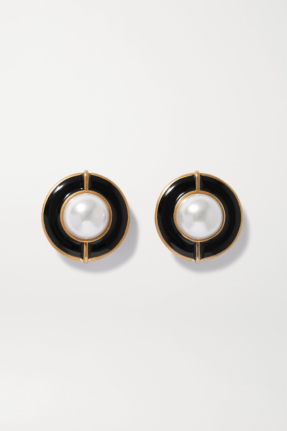 SAINT LAURENT Gold-tone, enamel and faux pearl clip earrings