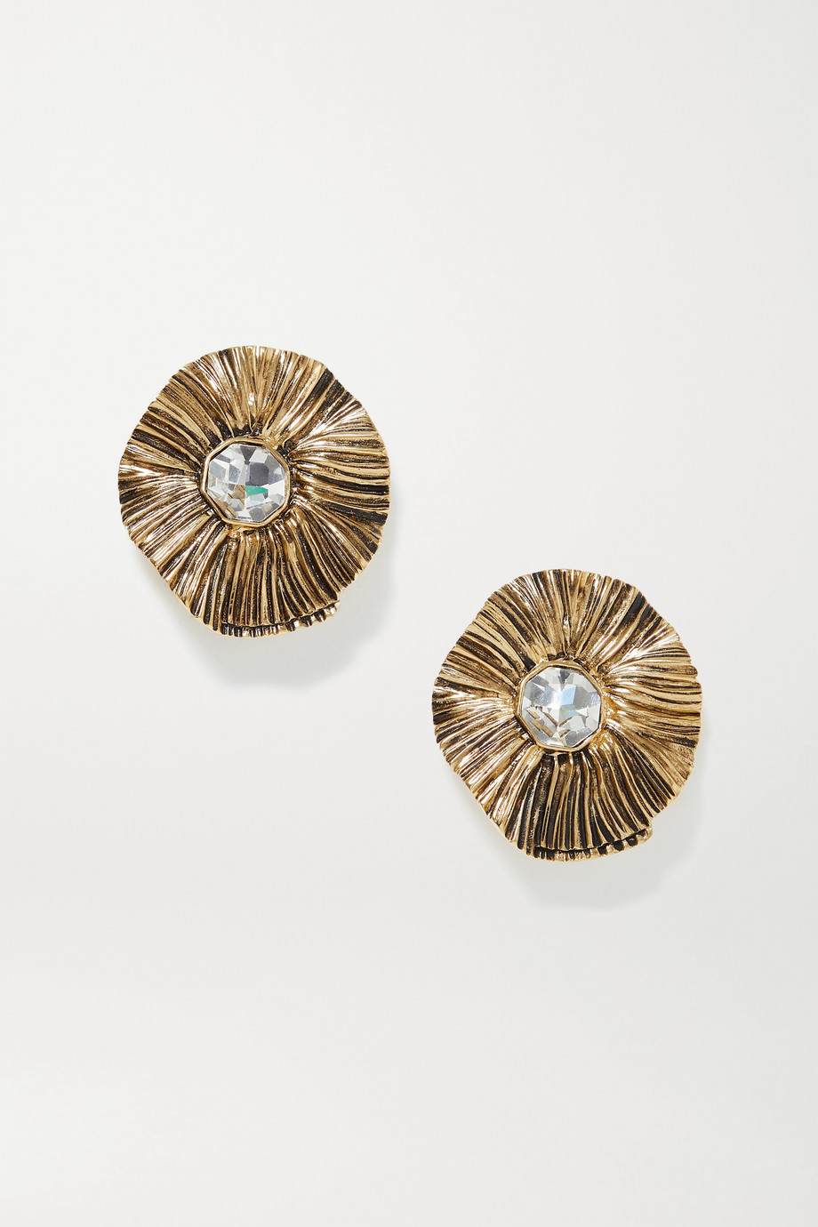 SAINT LAURENT Gold-tone crystal clip earrings