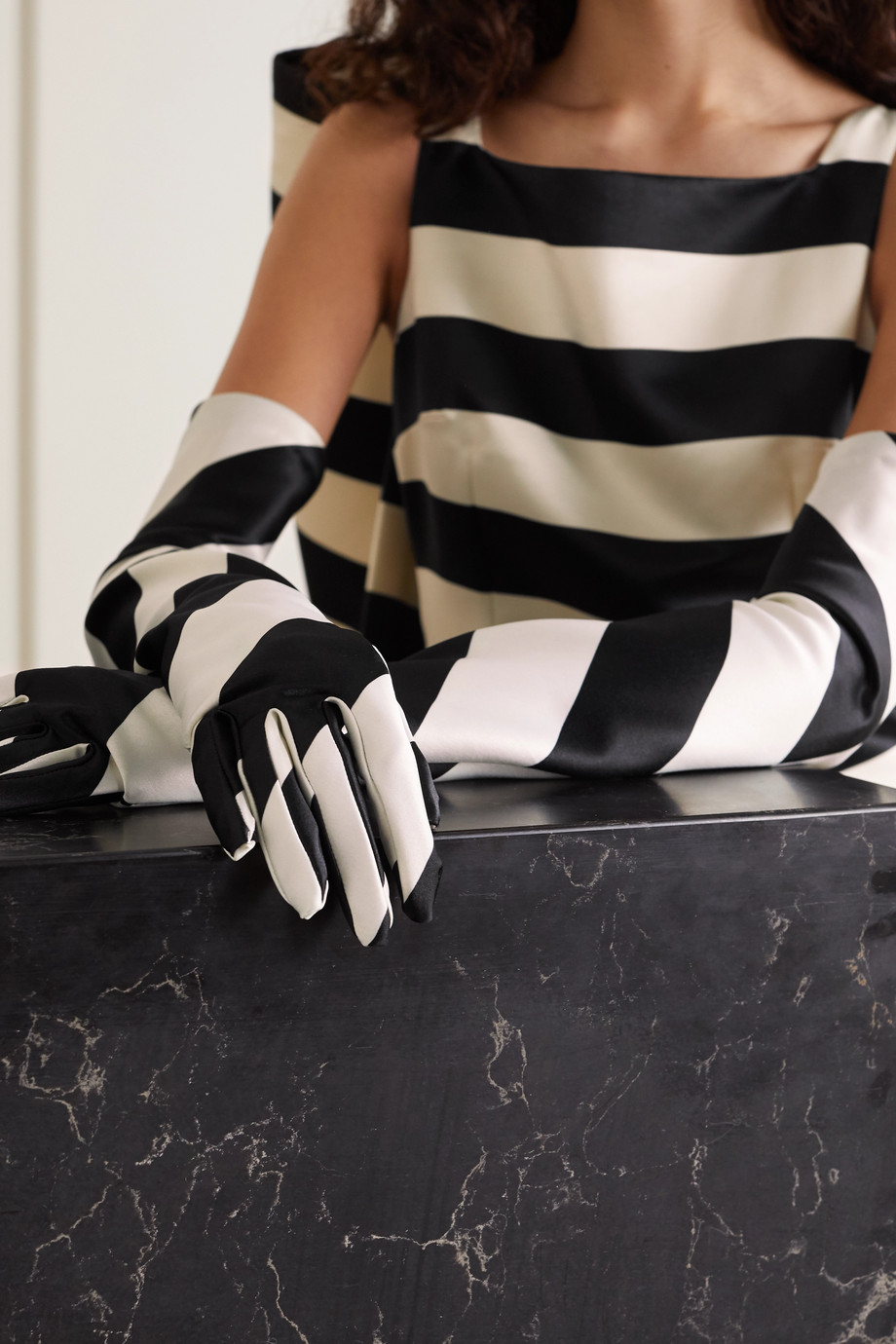 Emilia Wickstead Striped satin gloves