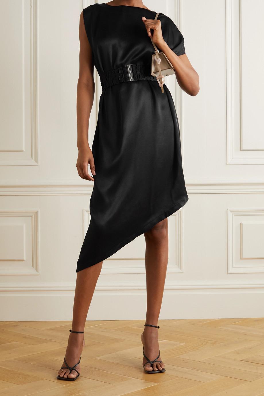 Envelope1976 + NET SUSTAIN Bordeaux asymmetric belted satin dress