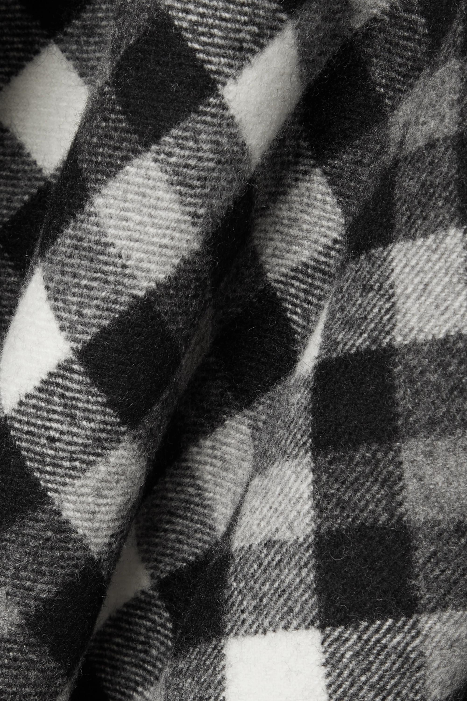 Michael Kors Collection Dover kariertes Midikleid aus Wolle mit Lederbesatz und Gürtel