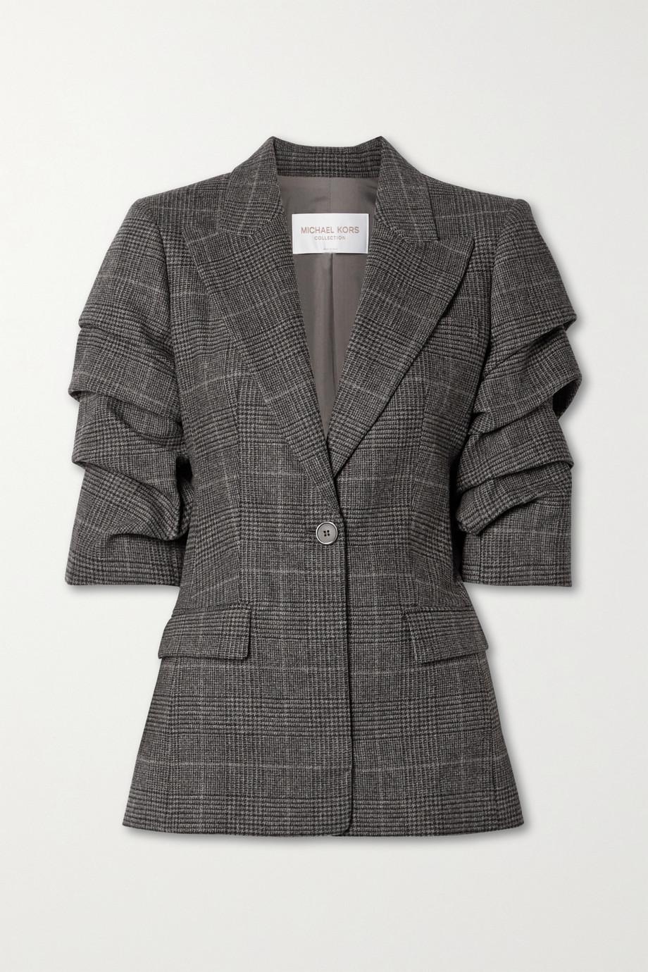 Michael Kors Collection Gathered houndsooth wool-blend blazer