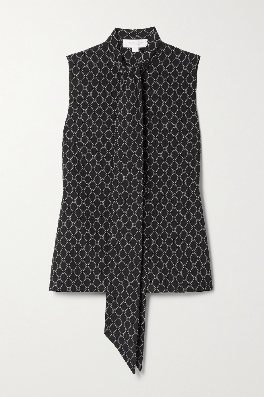 Michael Kors Collection Pussy-bow printed silk blouse