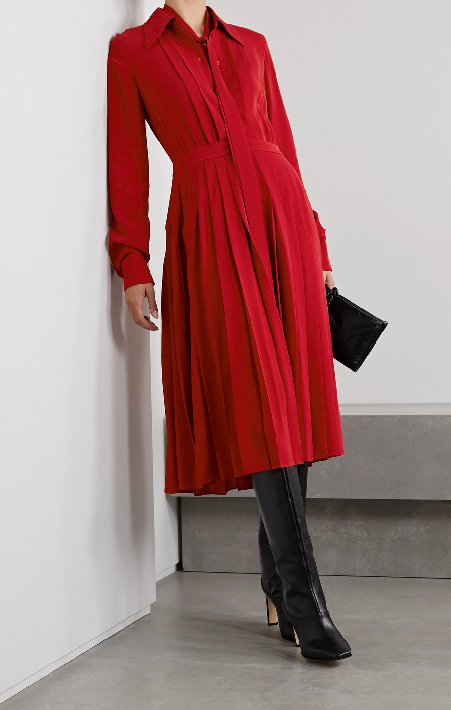 Michael Kors Collection Pussy-bow pleated silk-crepe midi shirt dress