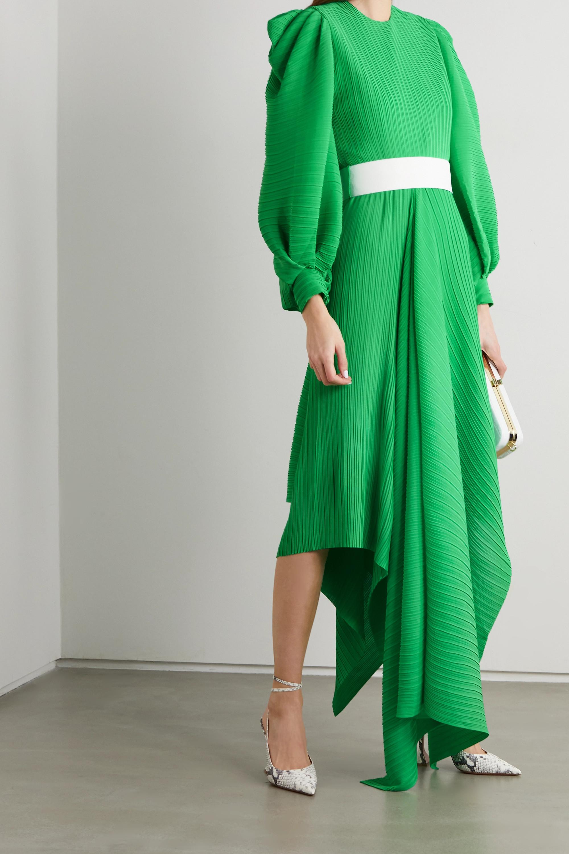 Solace London Tilde belted asymmetric plissé-chiffon dress