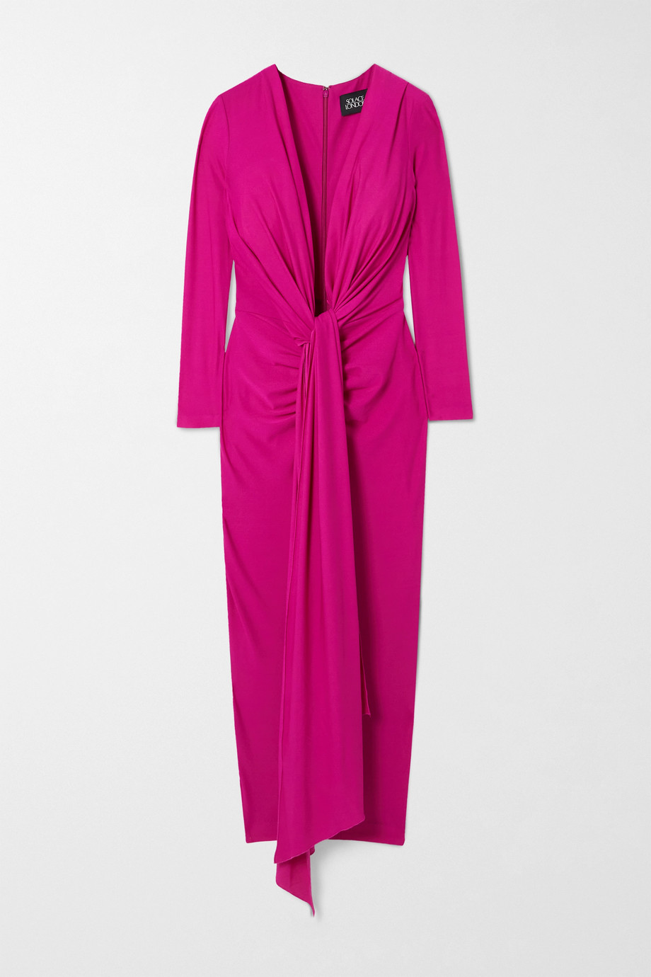 Solace London Robe midi nouée sur le devant en crêpe stretch Lorena
