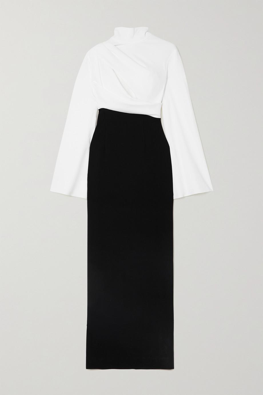 Solace London Lia draped two-tone crepe turtleneck maxi dress