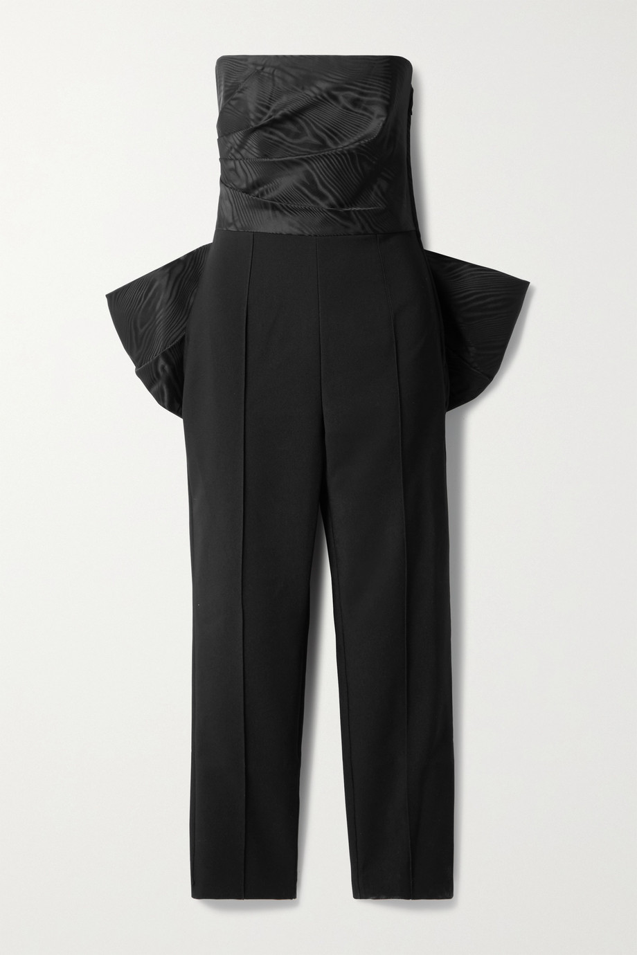 Solace London Willa strapless bow-embellished paneled moire and crepe jumpsuit