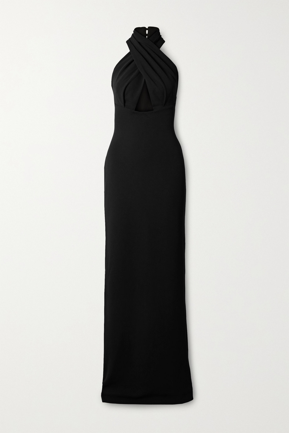Solace London Leora twist-front cutout cady halterneck maxi dress