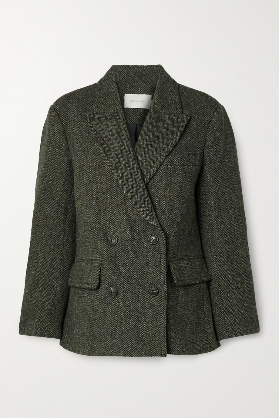 LOW CLASSIC Harris double-breasted wool-tweed blazer