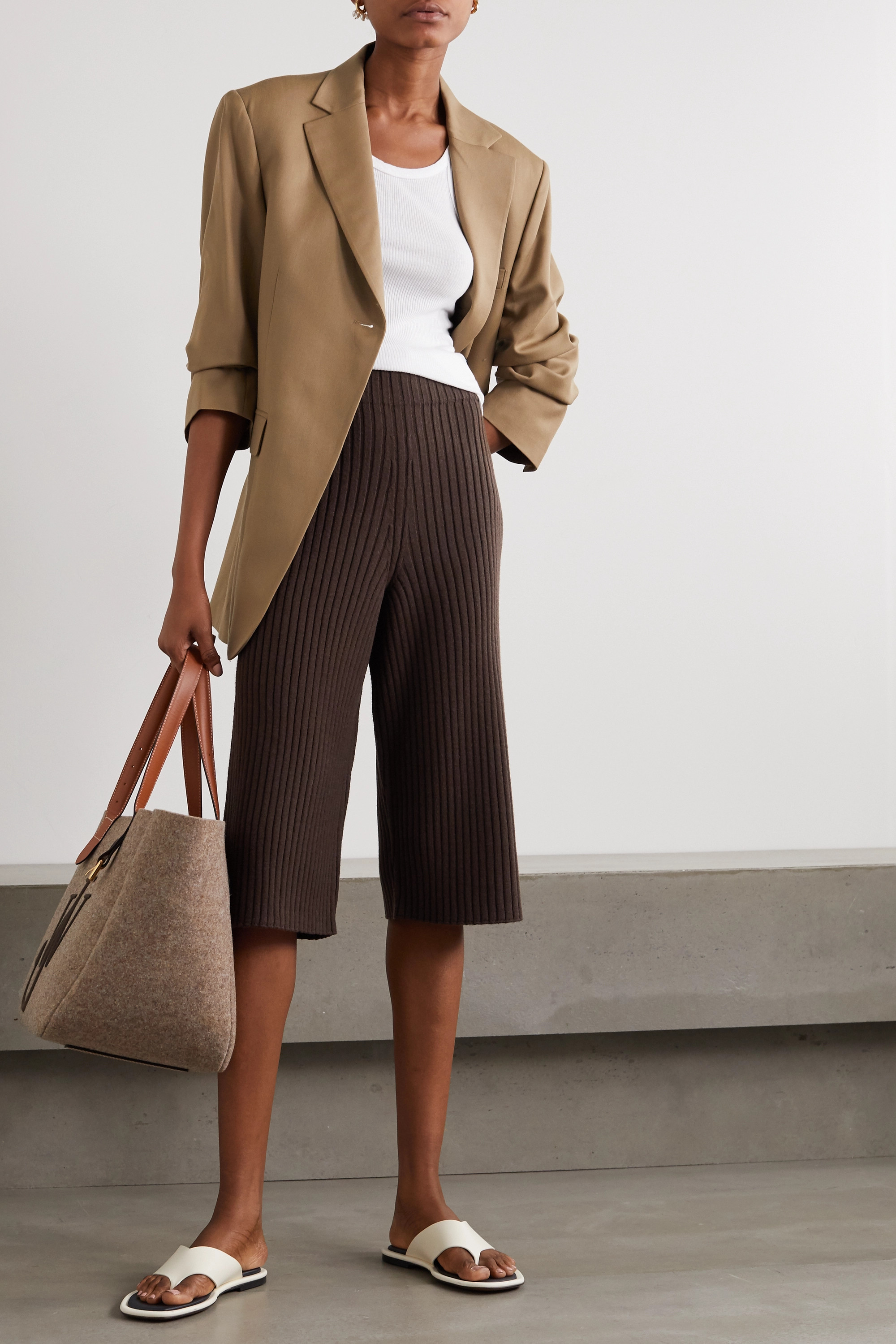 LOW CLASSIC Ribbed-knit culottes
