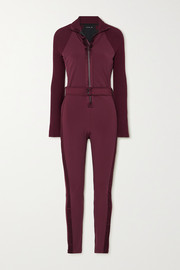 Vaara Sofia belted satin-trimmed stretch and ribbed-knit jumpsuit