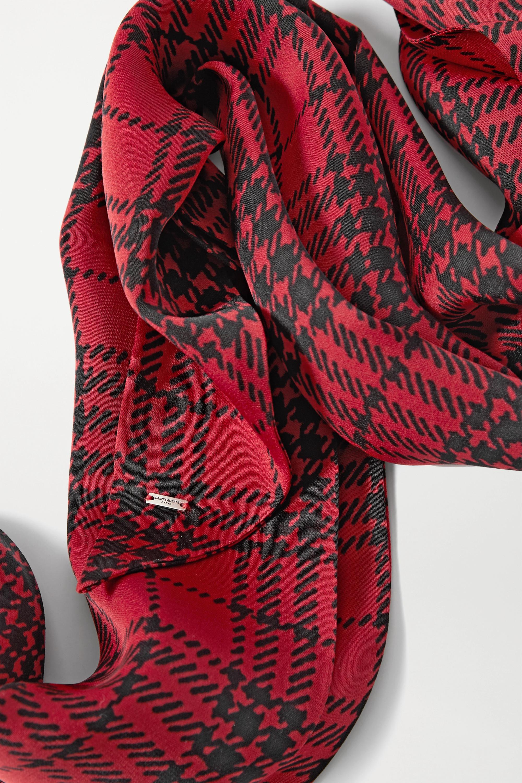 SAINT LAURENT Checked silk scarf