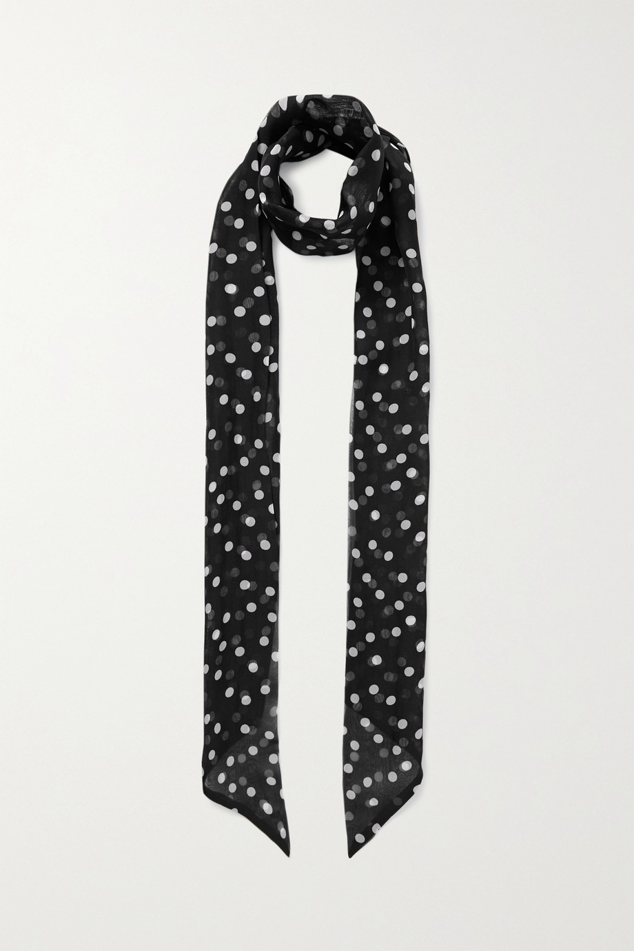 SAINT LAURENT Polka-dot silk-chiffon scarf