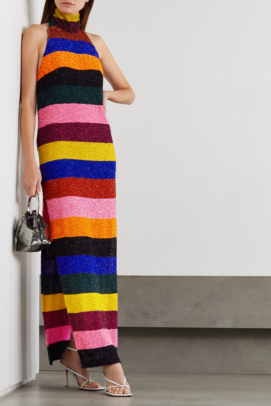 Ashish Striped sequined chiffon halterneck maxi dress