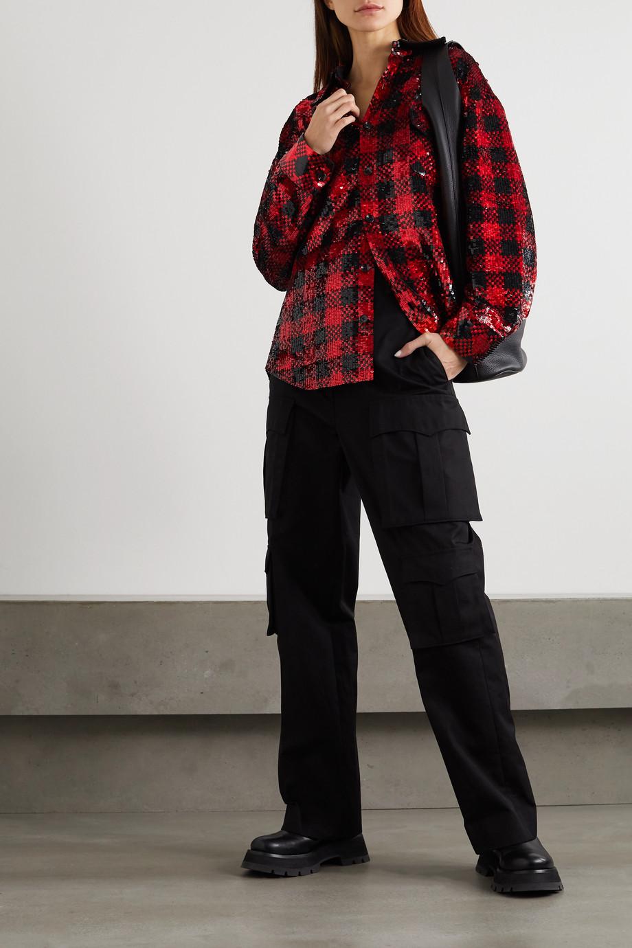 Ashish Oversized checked sequined cotton shirt