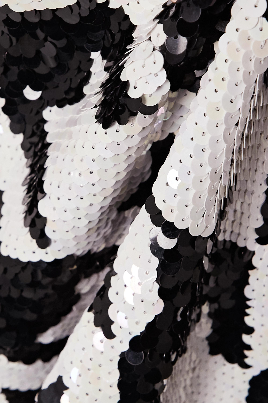 Ashish Fringed houndstooth sequined cotton skirt