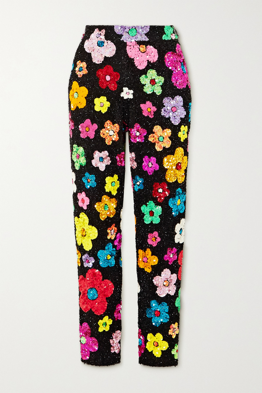 Ashish Sequined cotton slim-leg pants