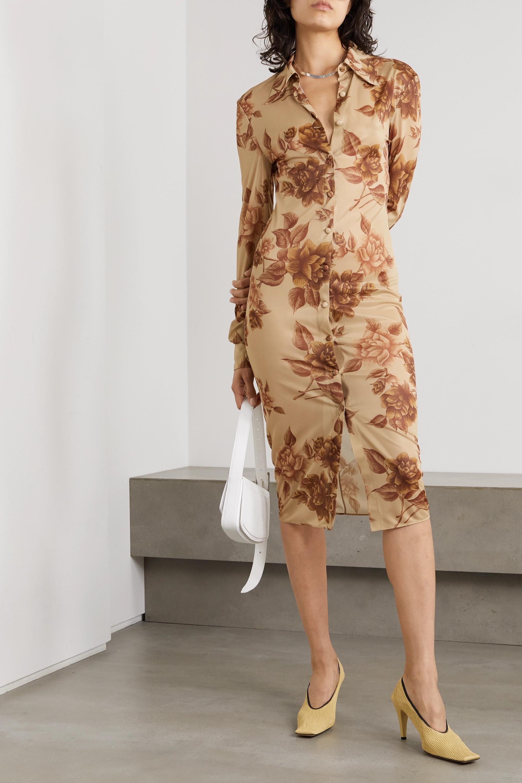 Kwaidan Editions 花卉印花平纹布衬衫式连衣裙
