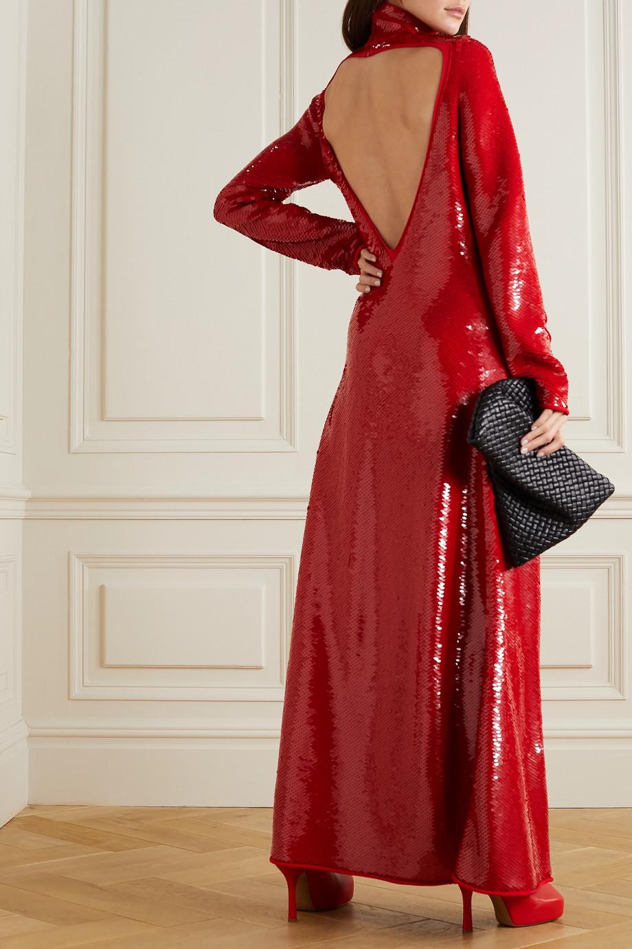 Bottega Veneta Robe longue à col montant en jersey à sequins et à découpe