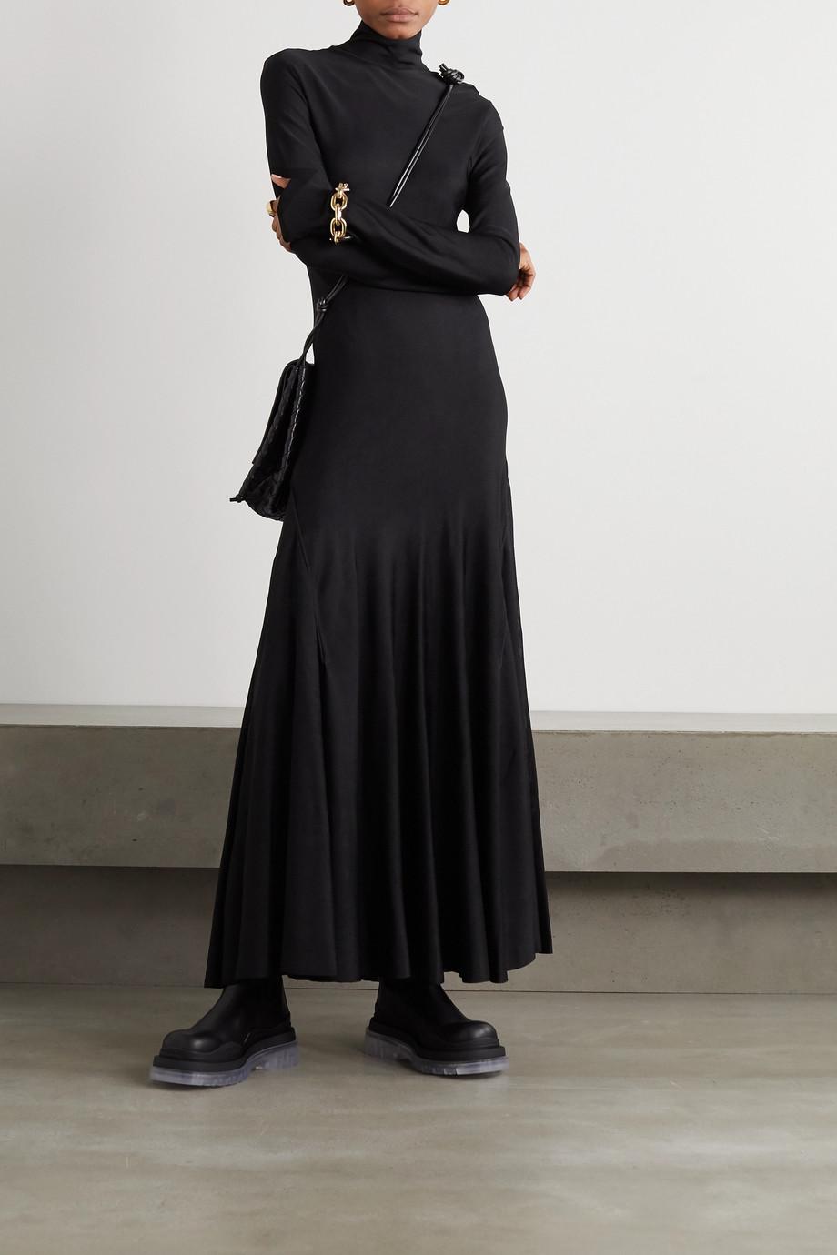 Bottega Veneta Robe longue à col montant en jersey stretch