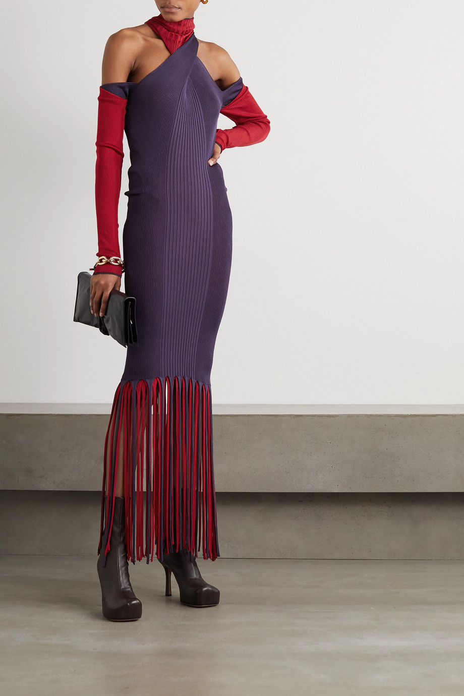 Bottega Veneta Cutout fringed ribbed stretch-knit dress