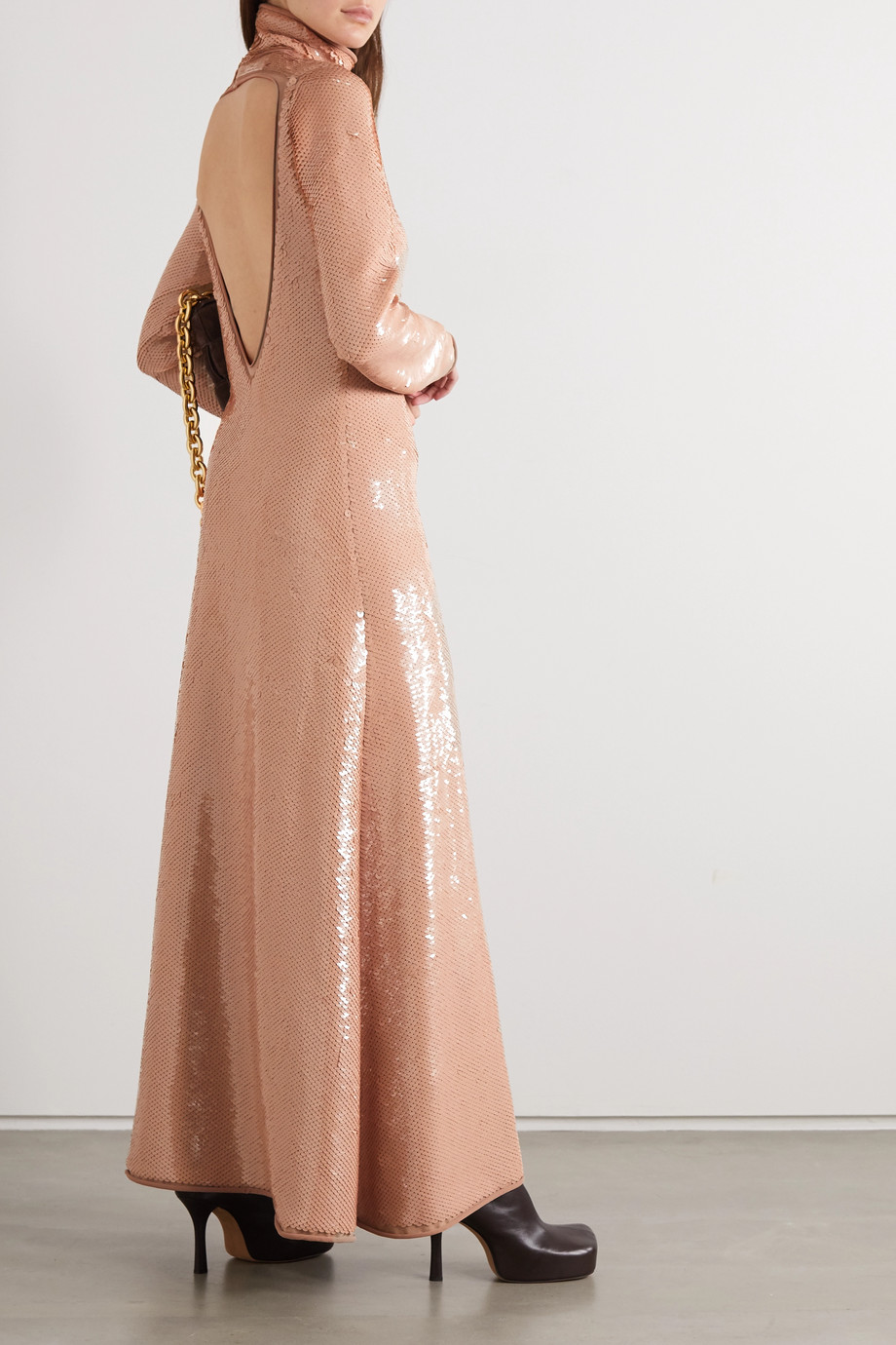 Bottega Veneta Open-back sequined jersey turtleneck gown