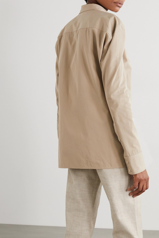 Bottega Veneta Ruched cotton-blend poplin shirt