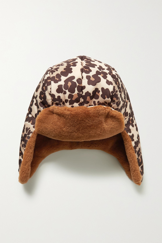 Fendi Shearling-trimmed leopard-print shell hat