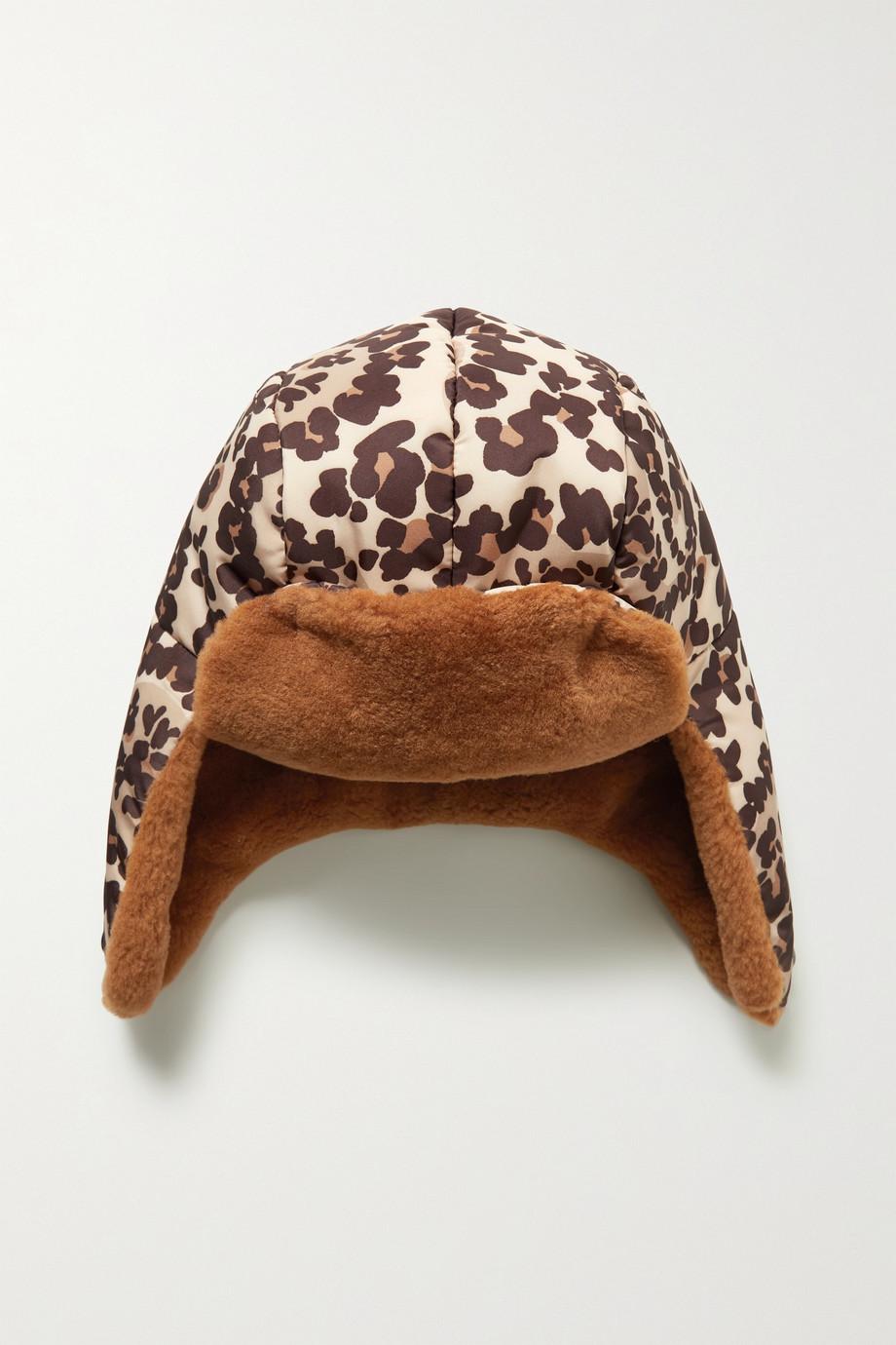 Fendi Mütze aus Shell mit Leopardenprint und Shearling-Besatz