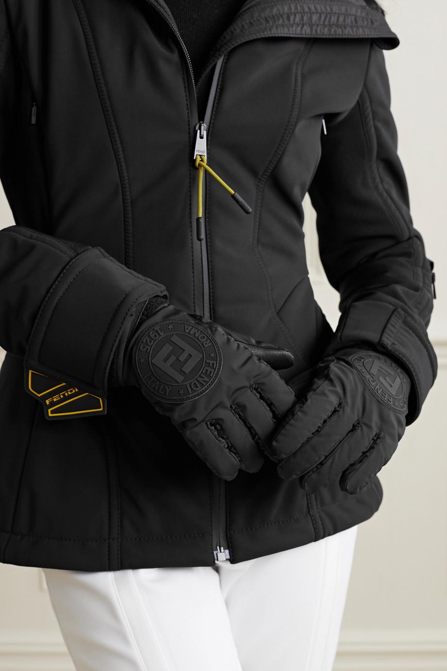 Fendi Skihandschuhe aus Shell und Leder mit Applikation