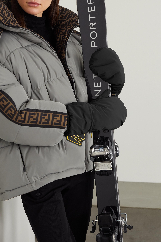 Fendi Wattierte Skihandschuhe aus Shell und Leder mit Gummibesätzen